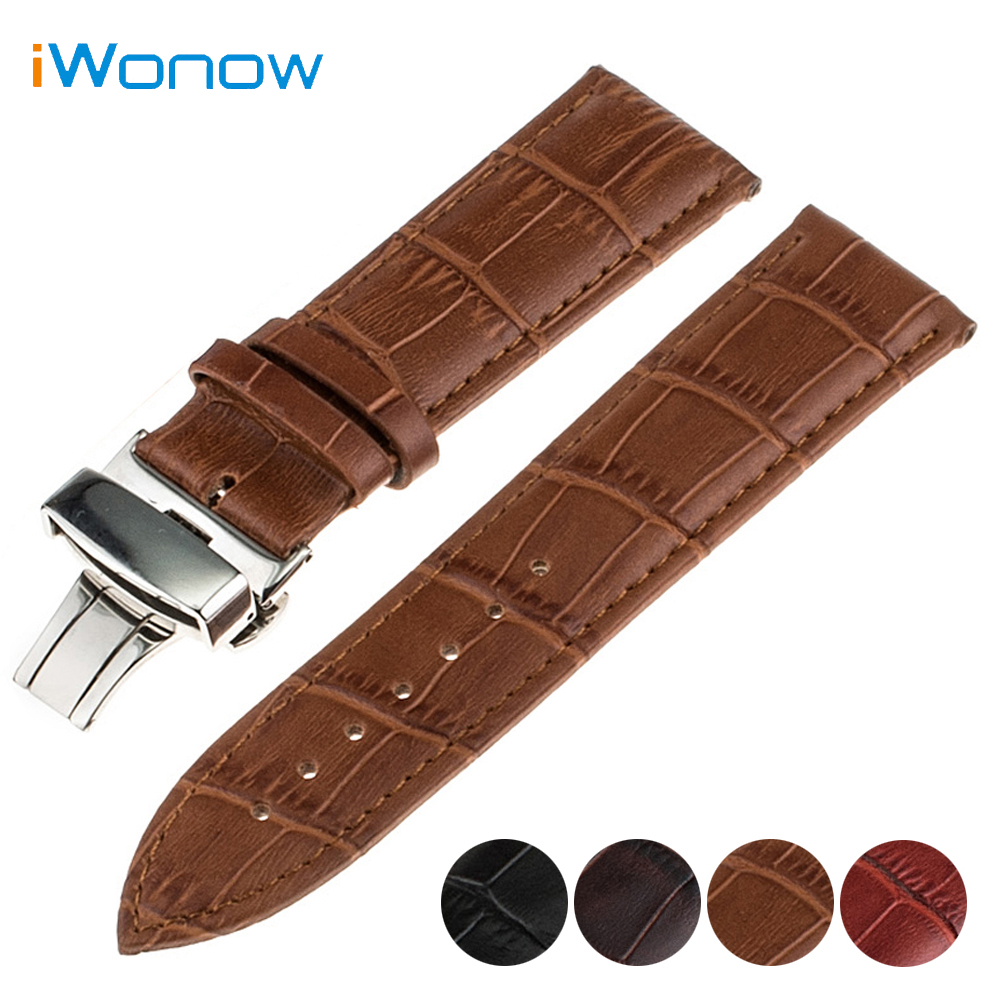 Genuine Leather Watch Band 18mm 20mm for DW Daniel Wellington Stainless Butterfly Buckle Strap Wrist Belt Bracelet + Spring Bar
