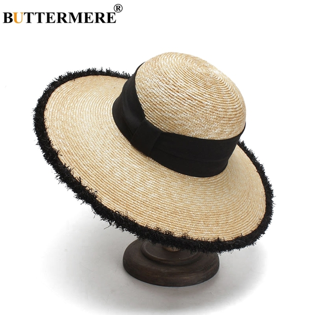 BUTTERMERE Women Sun Hats Beige Casual Straw Hat Female Wide Brim Anti-UV Ladies Summer Travel Sombreros Beach Caps Fashion 2018 1