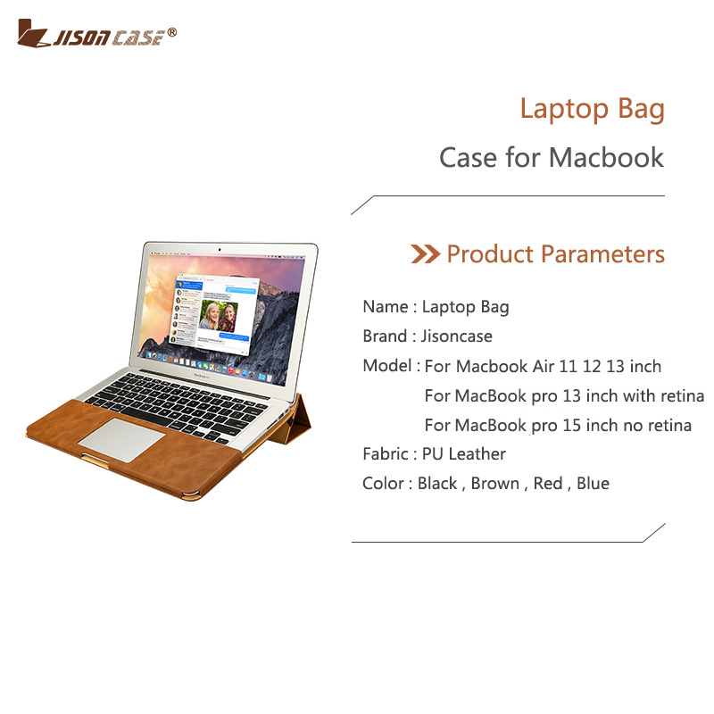 Jisoncase Leather Stand Cover Case For MacBook Air Pro Retina 11 12 13 15 inch Folio Case Sleeve Luxury Laptop Bags Cases PU in Laptop Bags Cases from Computer Office
