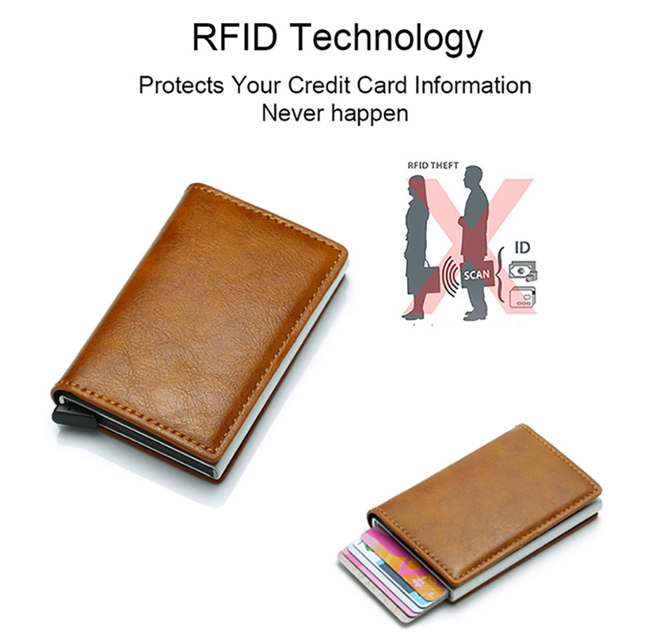Mens Small Slim Leather Wallets Rfid Card Holder 28