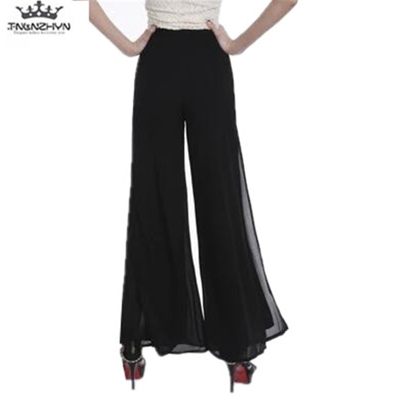 Plus Size XS-4XL tnlnzhyn 2019 Spring Summer   Wide     Leg     Pants   Women High Waist Chiffon   Pants   Loose Casual long Trousers Y1013