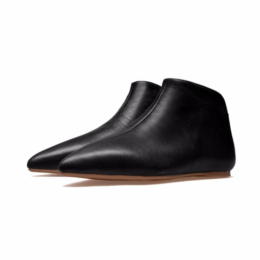 أردن Furtado 2019 الربيع والخريف جلد طبيعي الانزلاق على الأحذية البيضاء أوكسفورد الشقق أزياء حذاء من الجلد أحذية للمرأة 33  43-في أحذية الكاحل من أحذية على  مجموعة 2