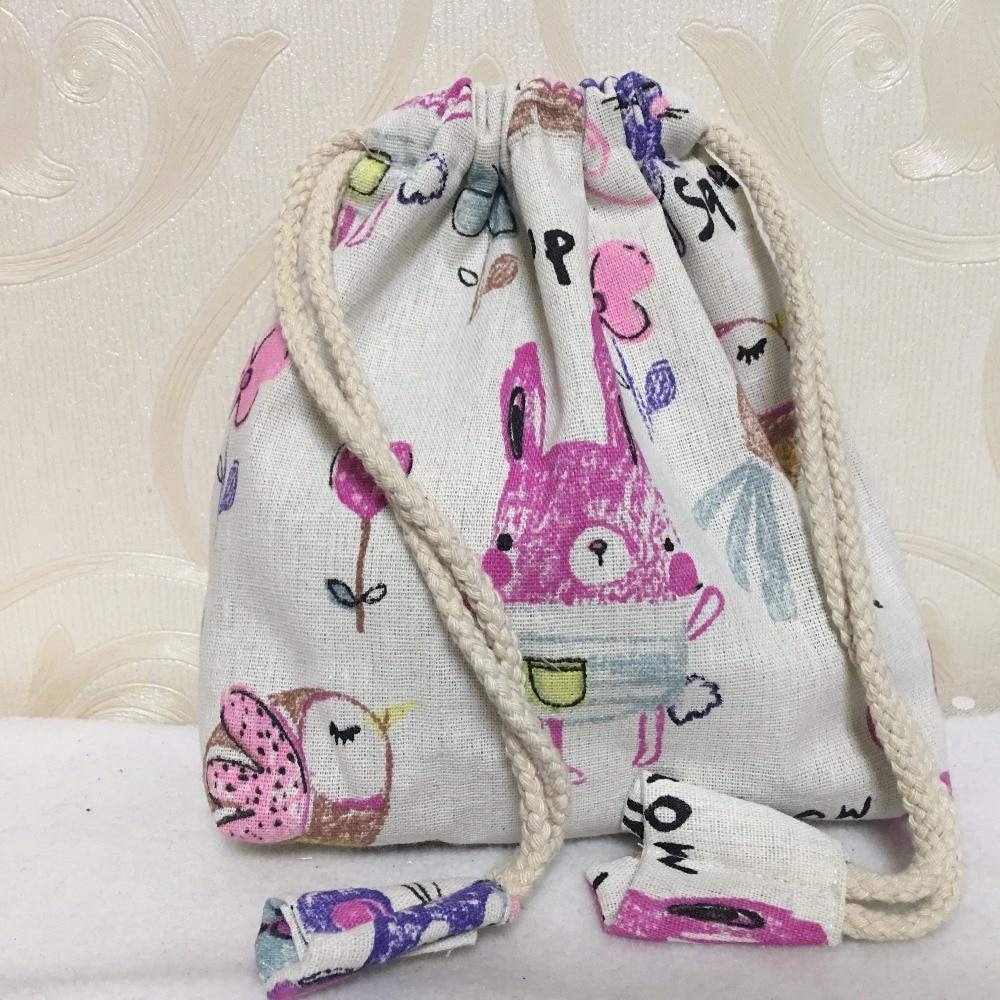 YILE Cotton Linen Drawstring Phone Bag Multi-purpose Organizer Bag Print Drawing Animal Butterfly Flower