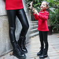 Девушки зимние брюки леггинсы мода PU Кожаные Штаны флис утолщение тонкий дети брюки девушки детская одежда брюки