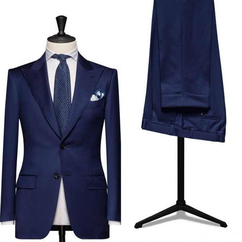 f8a8f37f06f5 Custom made royal blue men wedding suits business suits tuxedo slim fit  suit mens suits with pants tuxedos for men clothing
