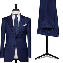 Custom made royal blue men wedding suits business suits tuxedo slim fit suit mens suits with