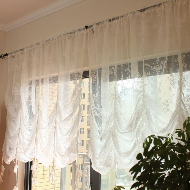 White mesh balloon curtain pastoral living room wiindow curtain in curtains from home garden for Balloon curtains for living room