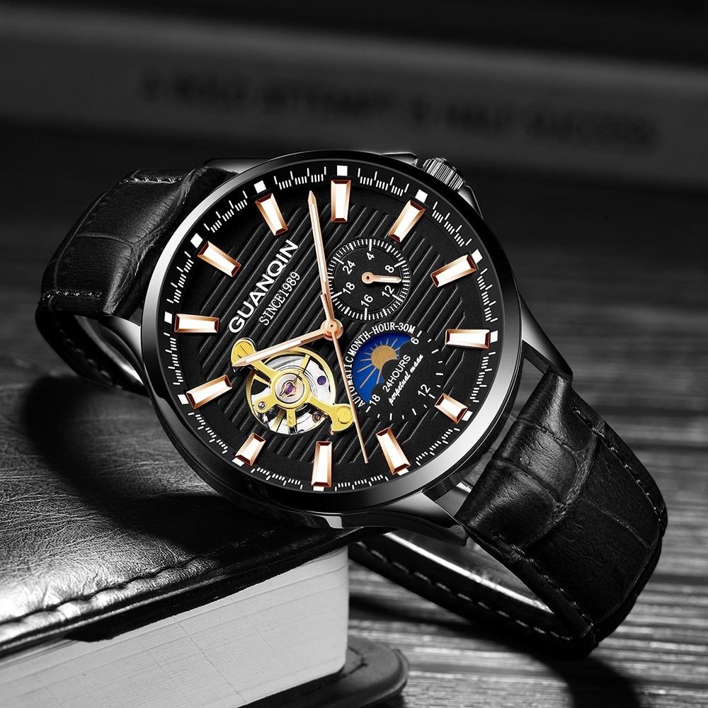 HTB1etM.B3KTBuNkSne1q6yJoXXaC GUANQIN 2019 new watch men waterproof Automatic Luminous men watches top brand luxury skeleton clock men leather erkek kol saati