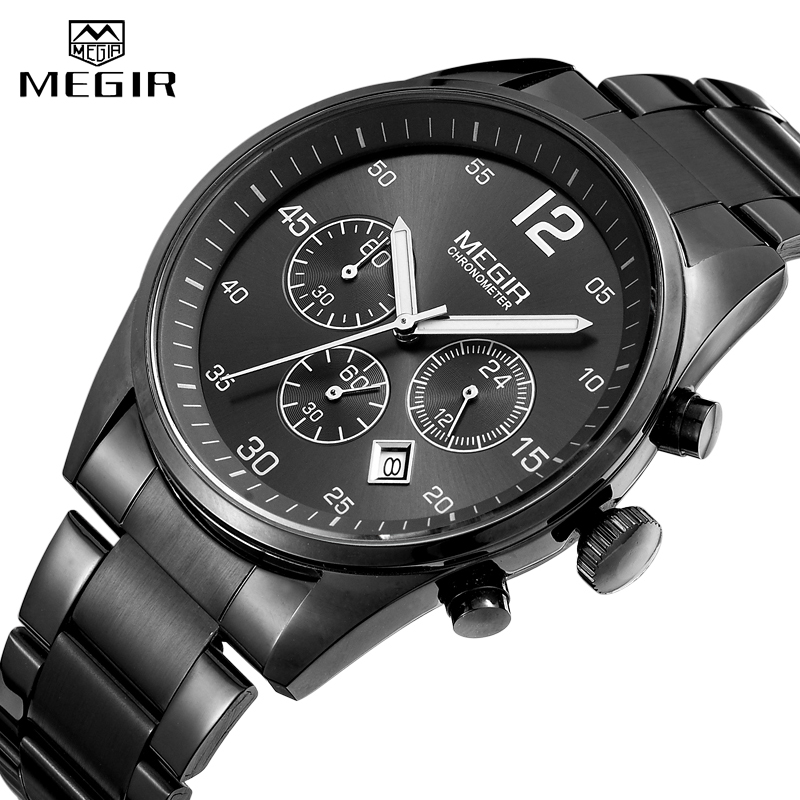 <font><b>MEGIR</b></font> Military Sport Men Watches Stainless Steel Quartz Watch Fashion Casual Male Date Clock Full Steel Business Mens Wristwatch image