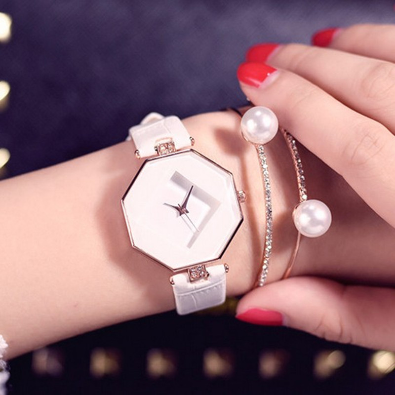 high-quality 2018 new 5color jewelry watch fashion gift table women Watches Jewel gem cut black geometry quartz wristwatches