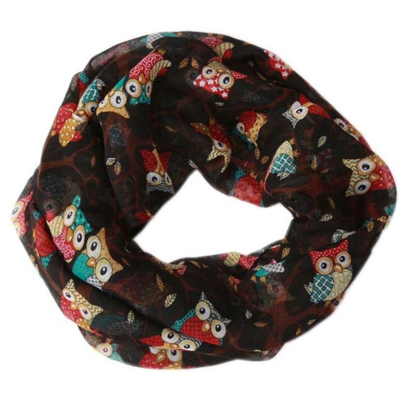 Women Ladies Owl Pattern Print   Scarf   Warm   Wrap   Shawl Ring   Scarves   Loop Scarfs For Womens bufandas invierno mujer cachecol A9