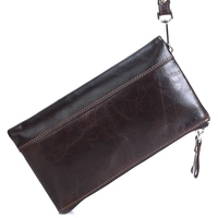 MANJIANGHONG Genuine Crazy Horse Cowhide Leather Men Wallet Short Coin Purse Function Wallet Brand High Quality