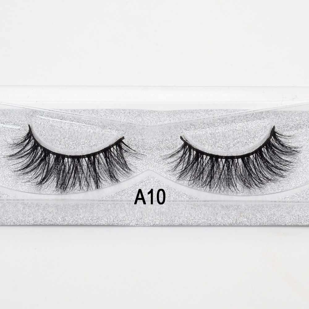Visofree False Eye LashesSoft Natural 1 Pair Box Sexy Party Queen Extension For Beauty Makeup Giltter Packing 3D Mink Lashes A10