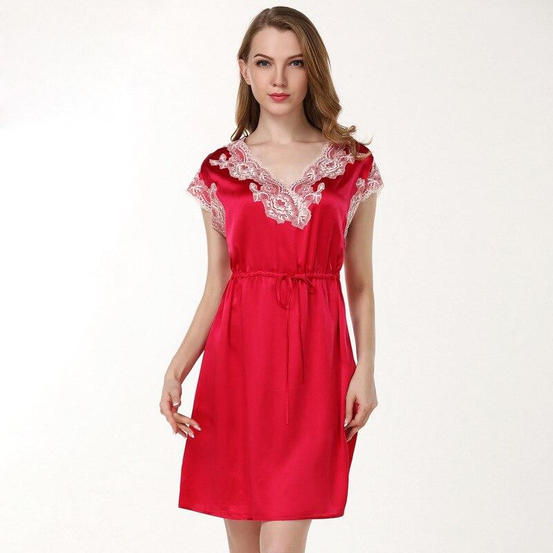 19 Momme Sexy 100% pure silk women sleep dress nightgowns Short sleeve V neck noble nighty sexy sleepwear batas de mujer