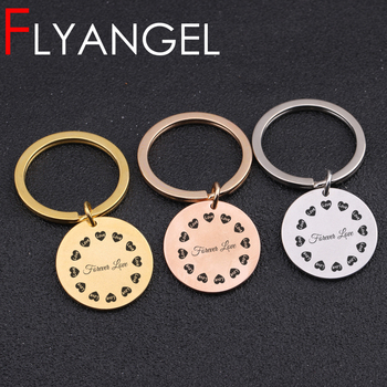 Fashion Engraved Keyring Love Heart Forever Love Key Holder Cute Bag Charm Car Key Tag For Lover Couples Jewelry Key Chain Gift