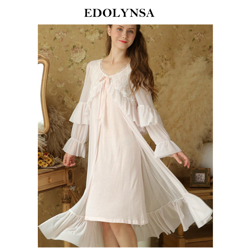 e561da2f5 One Piece Sleepwear Women Dummy Sleep Robe Set Long Nightgown Lace ...