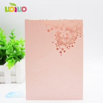 Nice Laser cutting 3d handmade romantic pink flower wedding invitation card wedding favor lace pocket invitation cards samples