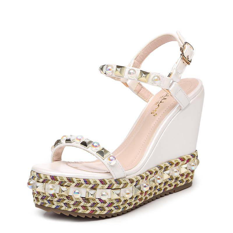 Size 31-39 2019 New Summer Fashion Women Shoes Rivets Wedges Ladies Sandals High Heels