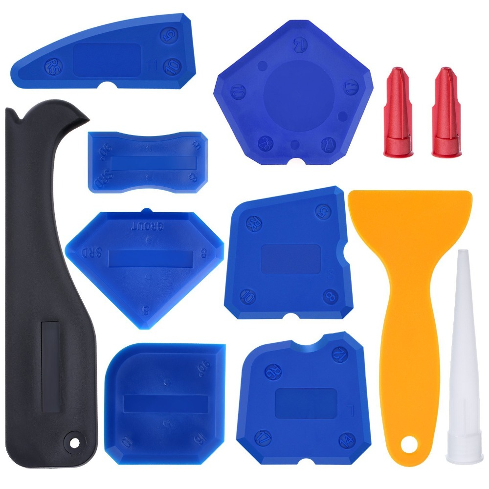 Pro 12 Pieces Caulking Tool Kit Silicone Sealant Finishing Tool Grout Scraper Caulk Remover And Caulk Nozzle And Caulk Caps OEM