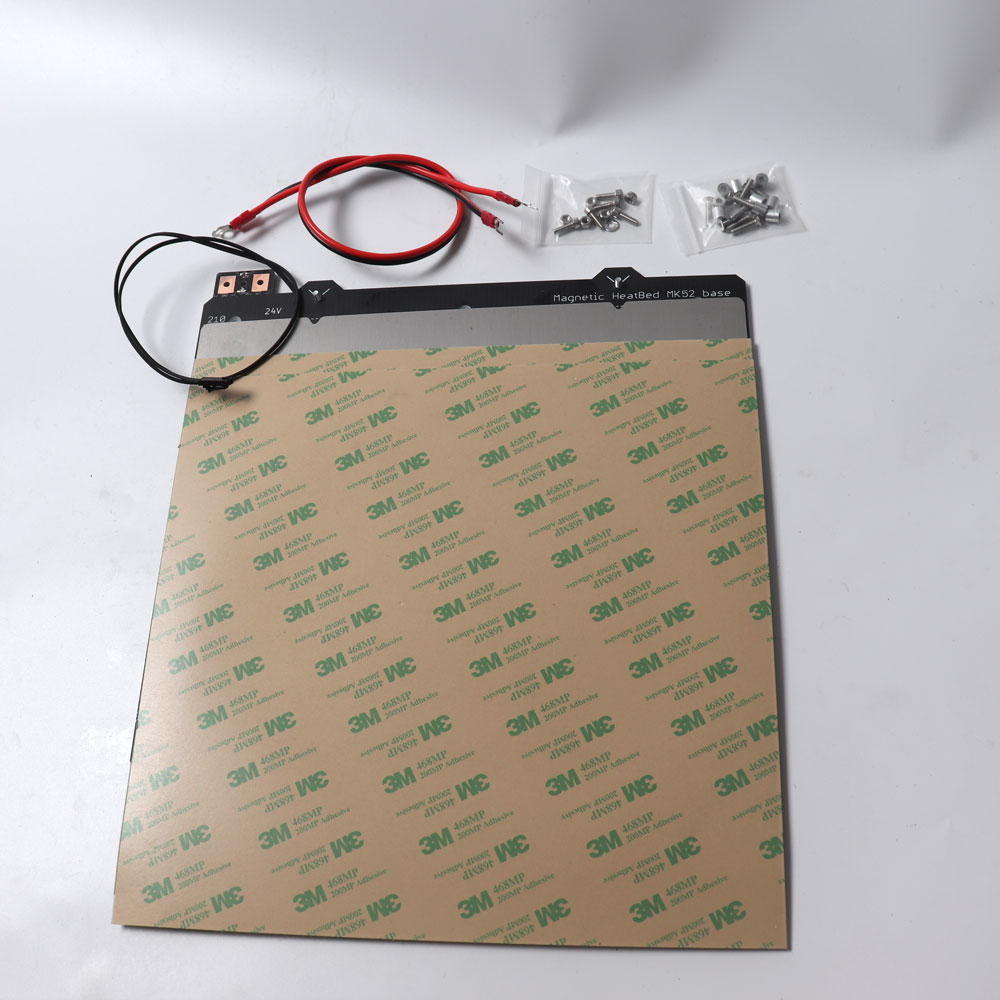 cloned Prusa i3 MK3 3d printer Magnetic MK52 Heatbed 24V assembly, with steel sheet and 2 pcs PEI sheet mk3s Heated bed