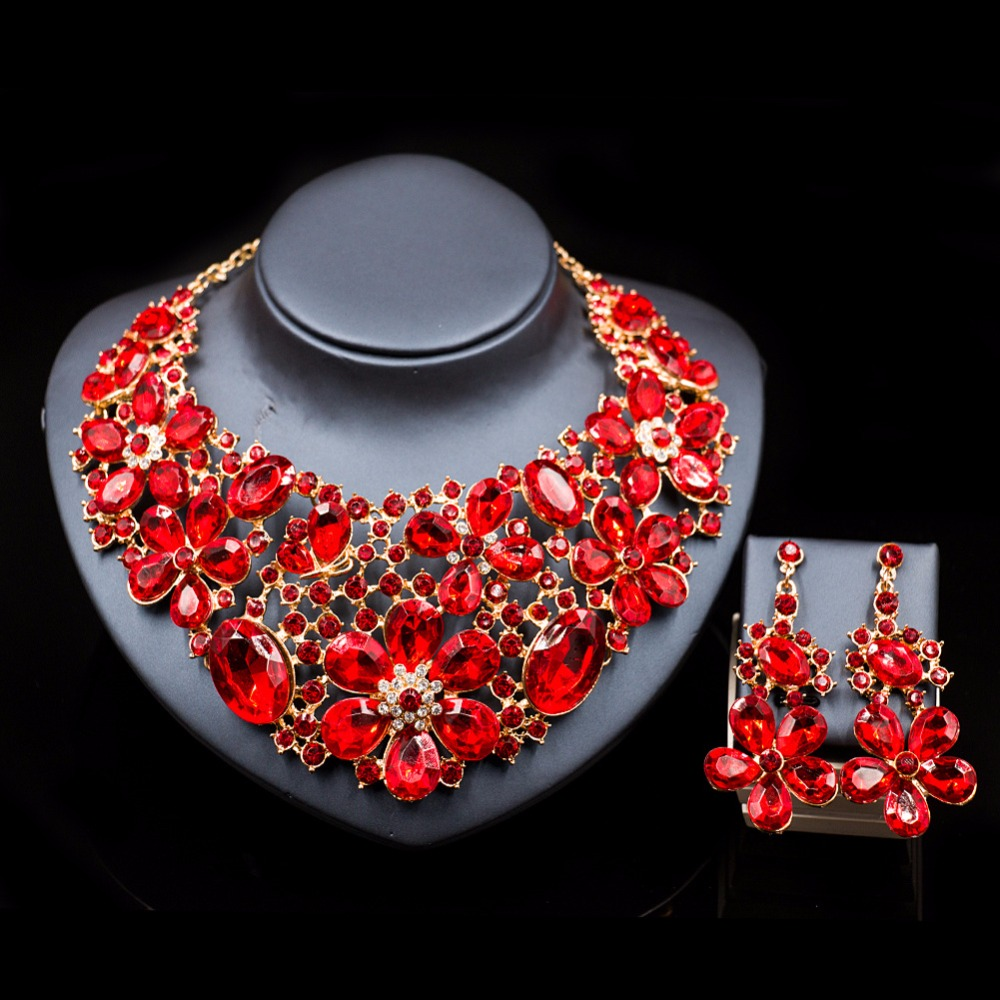 Lan palace Luxury gold color Rhinestone new arrival jewelry set Austrian crystal necklace and earrings for wedding six colors