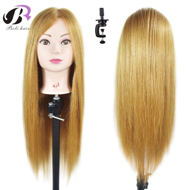 Boli usine en gros meilleure qualité 65 cm cheveux blonds formation tête coiffure peut Curl Mannequin tête d'entraînement et pince gratuite