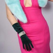 Velour Gloves Medium And Long Section 40cm High Elastic Female Gold Velvet Woman With Touchscreen Vestido De Noche TB124