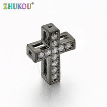 10*13mm Handmade Brass Cubic Zirconia Cross Beads Charms DIY Jewelry Bracelet Necklace Making, Model: VZ137(China)