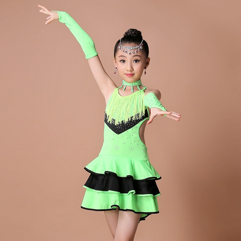 2020 New Sexy Sequins Sleeveless Girls Kids Ballroom Dresses Tango Salsa Latin Dance Dress Children Trainning Performance Wear