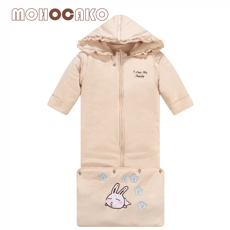 mohocako organic cotton baby sleeping bags with cap autumn u0026 winter thickening removable sleeves anti