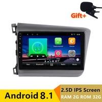 9 2 + 32 г 2.5D ips Android 8,1 DVD мультимедиа плеер gps для Honda Civic 2010 2011 2012 2013 2014 Радио стерео навигации