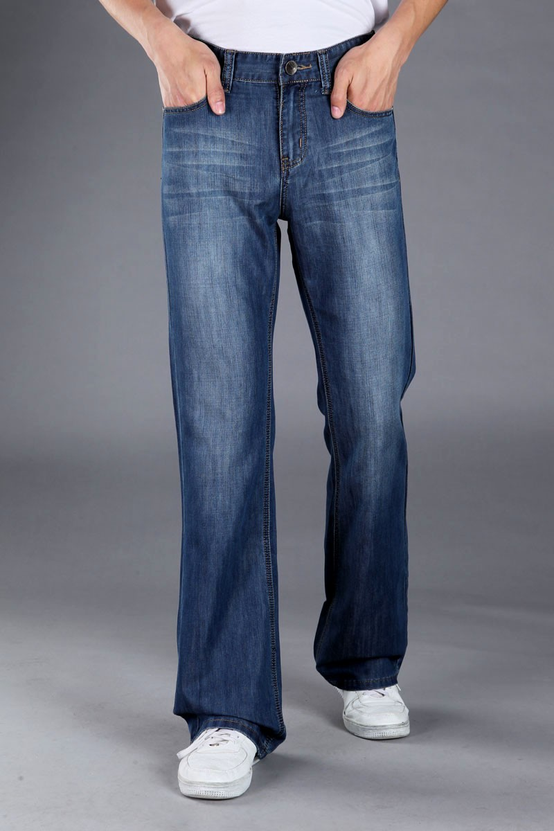 Mens Blue Flared Jeans Trousers Long Wide Leg Bell Bottom Jeans ...