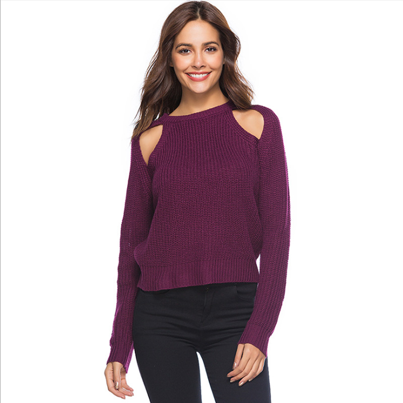 2019 New XL Size Female Sweater Long Section Knitted Solid Color Leisure Loose Slim Fit O-neck Korean Woman