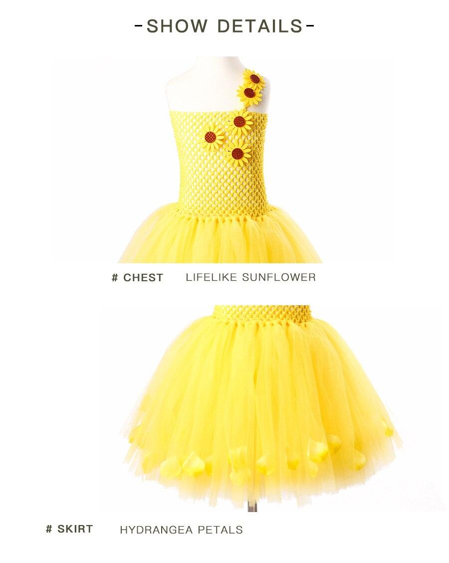 9ce103a8f Yellow Petals Flower Girls Tutu Dress Handmade Kids Princess Party ...