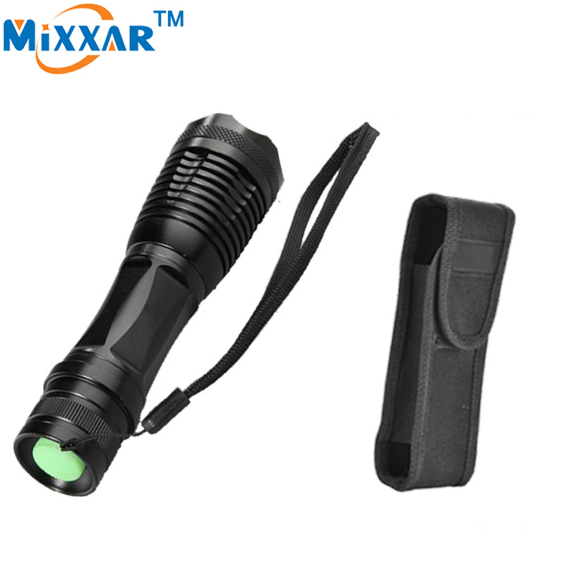 zk30 e17 CREE XM-L T6 8000 Lumens High Power LED torch flashlight Focus lamp Zoomable light with a portable sleeve led flashlight torch e17 cree xm l t6 3800 lumens high power focus lamp zoomable light with one battery charger and sleeve