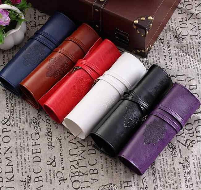 048P Vintage Retro Luxury Roll Leather Make Up Cosmetic Pen Pencil Case Pouch Purse Bag for School