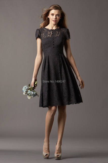 Best Short Black Lace Bridesmaid Dresses With Sleeve Open Back A Line Women Party