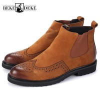 Retro Wing Tip Brogue Mens Ankle Boots Round Toe Block Low Heel Chelsea Boots Top Brand