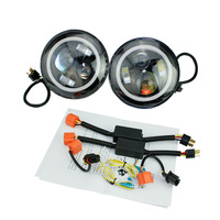 2pcs Set 7 Inch 60W LED Headlight Head Light Lamps White Full Halo Angel Eyes FOR