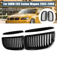 4PCS Front Kidney Grille Grill Gloss Black For BMW E90 3 Series Sedan 2005 2006 2007 2008