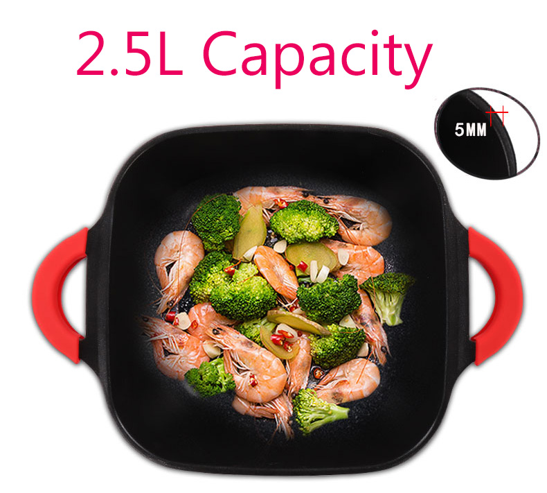 DMWD Electric Skillet with Non-Stick Coating and Five Gear Temperature Control 4