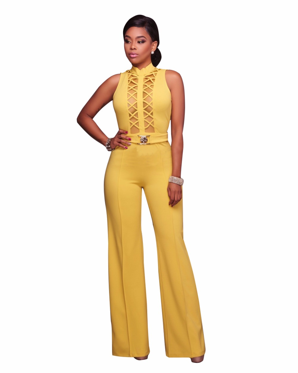 752b1535ec2f Summer Jumpsuit Hollow Out Sexy Wide Leg Rompers Bodycon Body Macacao  Feminino Thank Sleeveless Full Length Women Jumpsuit Femme-in Jumpsuits  from Women s ...