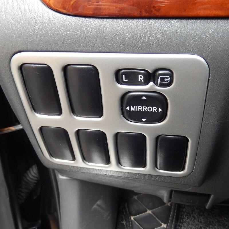 Stainless Steel Mirror Control Switch Button Cover Interior Trim For Toyota Land Cruiser Prado J120 2003 2004 2005 2006 2007-09