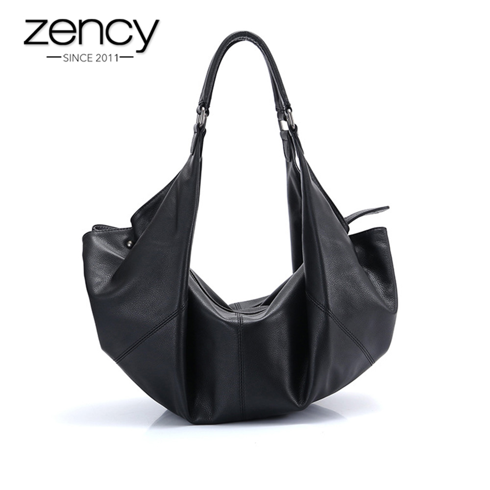 Zency Large Capacity Women Shoulder Bags 100 Genuine Leather Handbag Fashion Black Hobos Lady Crossbody Purse