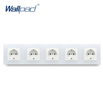 цена на 5 Frame EU Socket Wallpad Crystal Tempered White Glass Panel 16A EU 110V-240V 5 EU Wall Socket 430*86MM Size