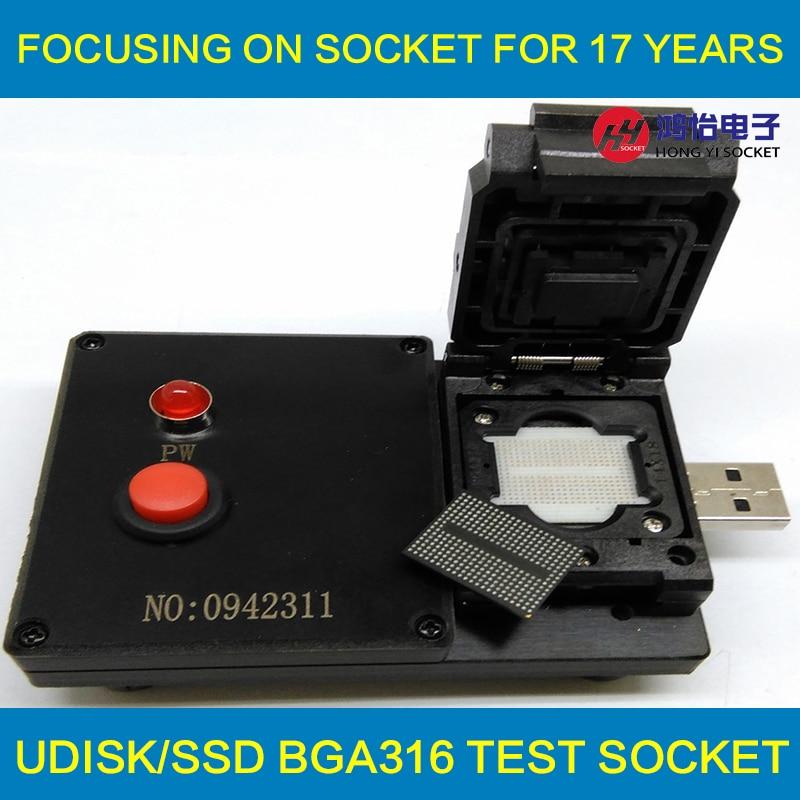 BGA316 U-Disk Test Jig 8CE AlcorMP Controller Clamshell USB Interface Probe Pogo Pin Fixture bga jig with screws 4pcs