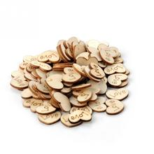 100Pcs/lot Love Heart Shape wood sewing button wooden buttons for clothes accessory