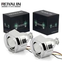 ROYALIN 2.5 Metal H1 Projector Lens Headlights For BMW X5 R Switchback LED Angel Eyes Shroud Turn Signal Light H4 H7 Car Styling