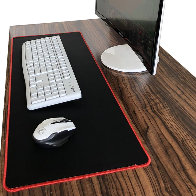Pure Black Large Gaming Mouse Pad Colorful Lockedge Mouse Mat Keyboard Mat Table Mat Desk Mat For Notebook Laptop Gamer Mousepad