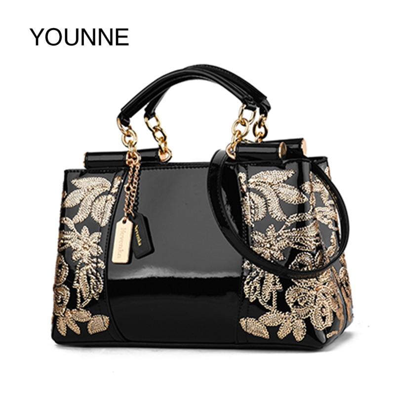 YOUNNE Embroidery Handbag Tote Shoulder-Bags Flowers Sac Top-Handle Female Vintage Designer